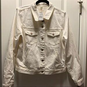 JCrew White Denim Jacket Size L New With Tags